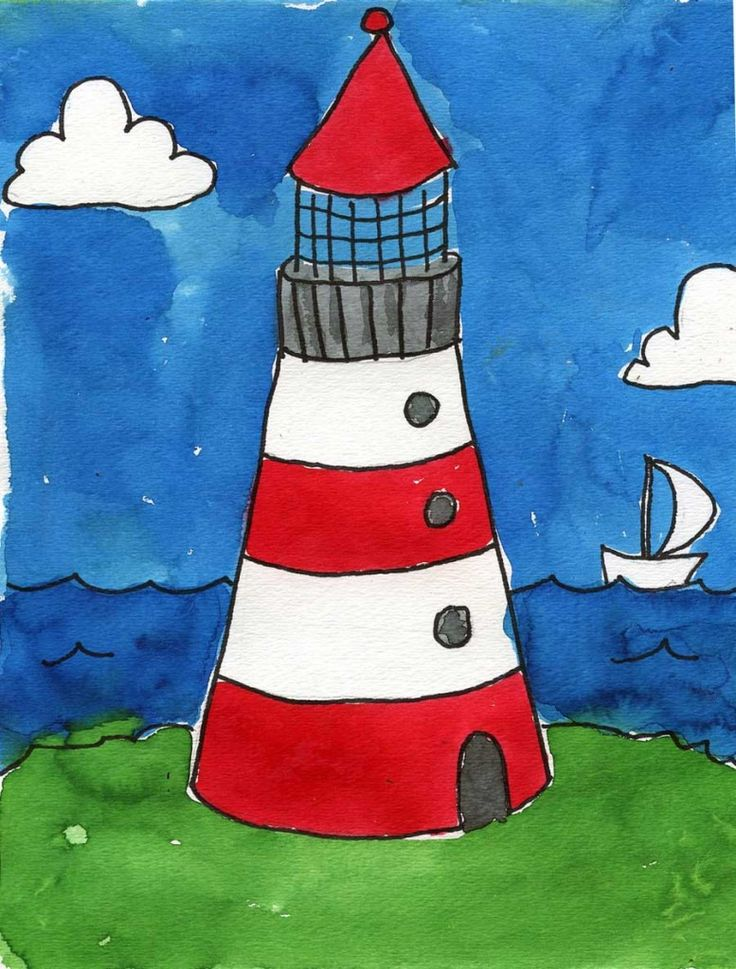 art created by kids | Lighthouse+Watercolor-777x1024