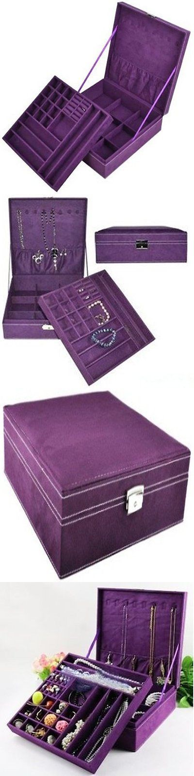 Jewelry Boxes 3820: Jewelry Box Purple Storage Cabinet Organizer Necklace Chest Display Case Armoire BUY IT NOW ONLY: $33.37