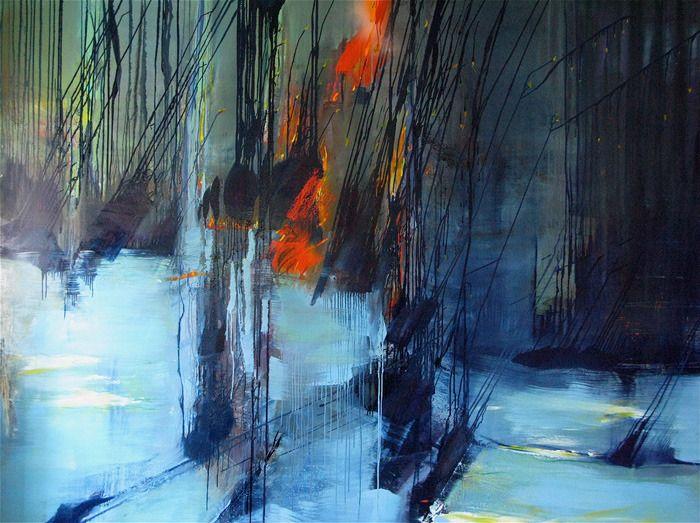 artist Gerard Stricher | (fire & ice, snow, rain on glass?)