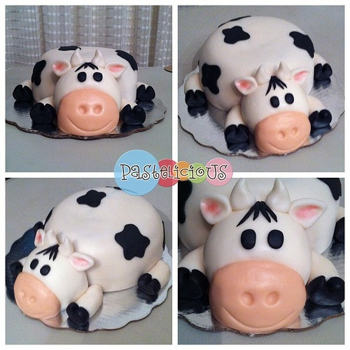 #pastelicious #fondant #birthdaycake  A cow cake!!! Must make for Sun's bday!! :)