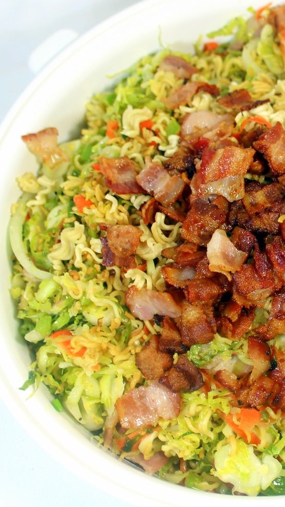 BACON BACON BACON Slaw with Crunchy Ramon Noodles  In addition to the BACON BACON BACON, there is a surprising secret ingredient.  This is an AMAZING dish that will surprise and PLEASE!    Guaranteed!