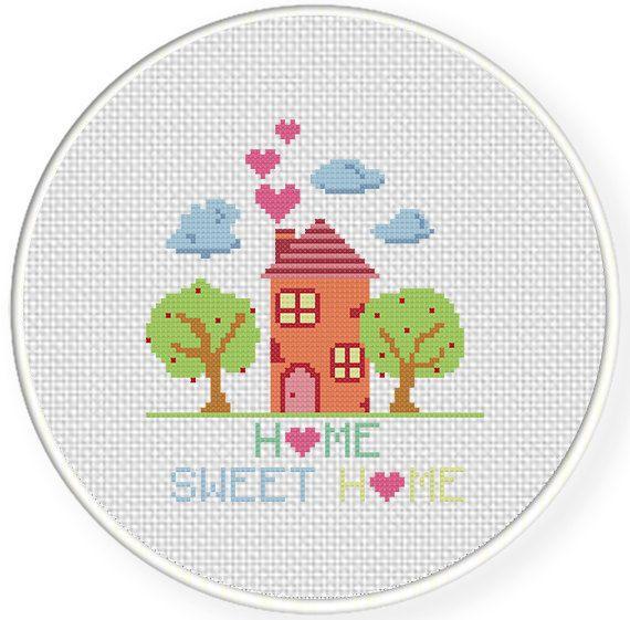Home Sweet Home PDF Cross Stitch Pattern Needlecraft - Instant Download - Modern Chart