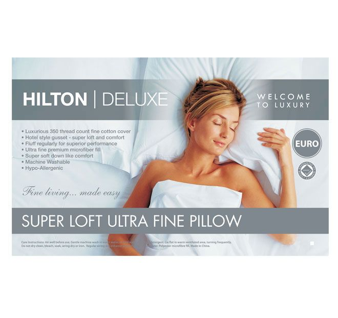 Superloft Gusset European HILTON DELUXE  A major breakthrough in comfort and warmth. New technology has allowed Hilton Deluxe to produce this down alternative microfibre pillow. The premium microfibre fill emulates the light, fluffy properties of duck and goose down. The 350 thread count pure cotton cover guarantees a naturally healthy and restful night's sleep.  Features: Ultra fine premium microfibre fill 350 thread count luxurious cotton cover 1400GSM fill Hotel style gusset gives super…