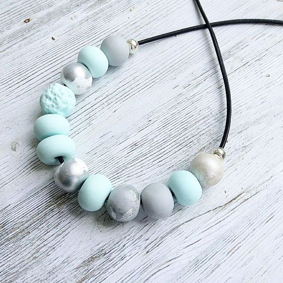 Pastel mint and white beach style necklace polymer clay
