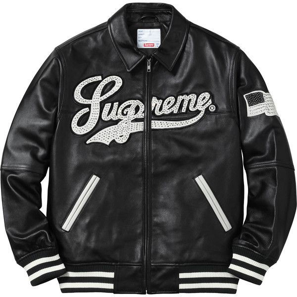 Supreme Uptown Studded Leather Varsity Jacket ❤ liked on Polyvore featuring outerwear, jackets, tops, studded leather jacket, college jacket, teddy jacket, letterman jackets and varsity jacket