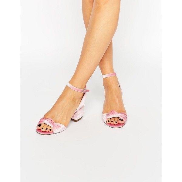 ASOS HALLMARK Heeled Sandals ($57) ❤ liked on Polyvore featuring shoes, sandals, pink, heeled sandals, pink sandals, ankle tie sandals, ankle strap heel sandals and ankle strap shoes