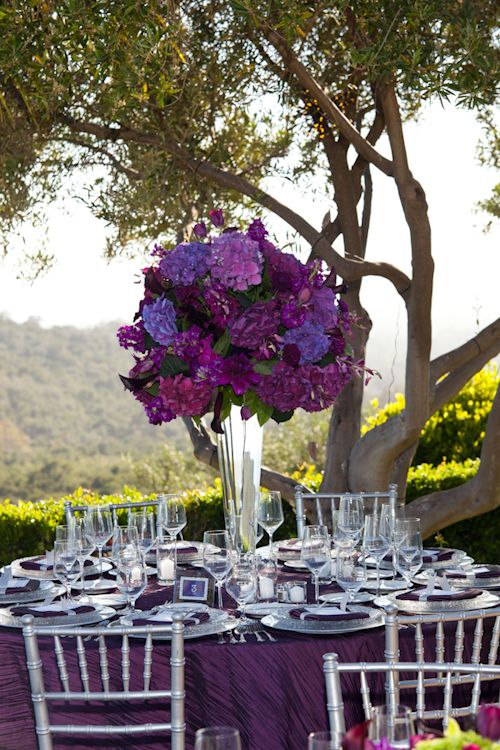 Lush purple centerpiece at California estate wedding, photos by Stephanie Hogue Photography | junebugweddings.com