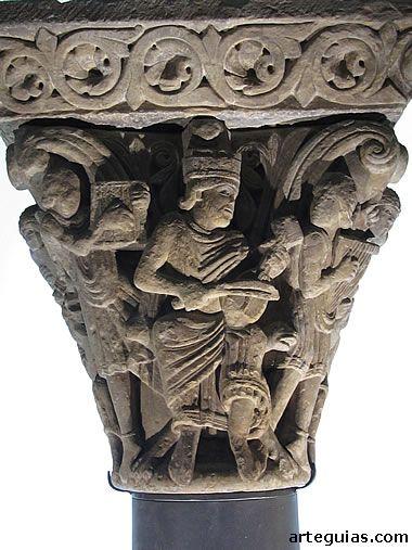 Capitel de la Catedral de Jaca que muestra al Rey David , músico