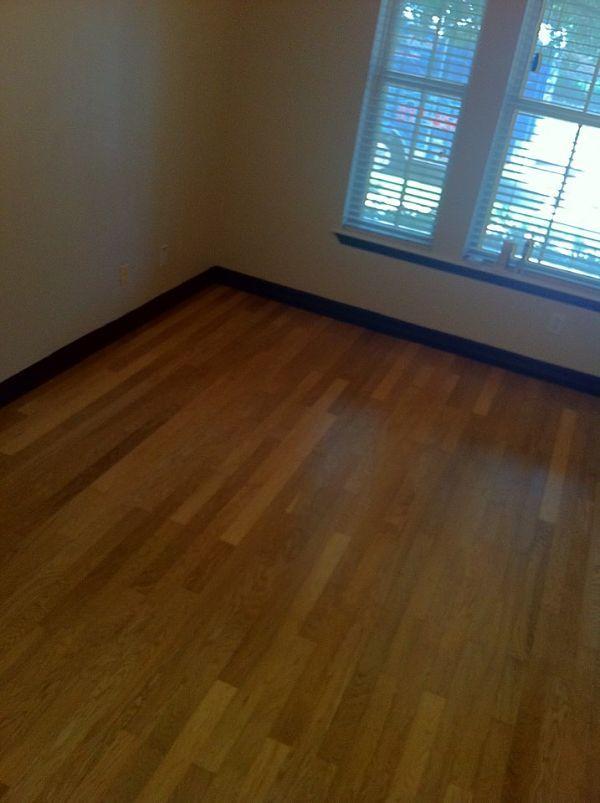 Dark baseboards white oak and floors on pinterest for White baseboards with wood floors