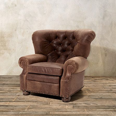 Beacon Motion Tufted Leather Recliner In Sycamore Arhaus