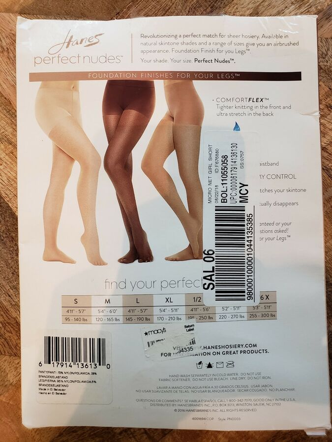 0362968f34c Hanes Perfect Nudes Sheer Micro Net Girl Short Tummy Control Hosiery Nude 6  M Sheer Micro Net