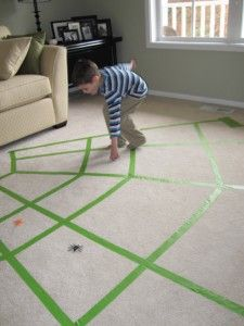 Spider web toddler game