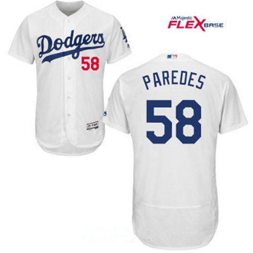 4a4d466cc Men s Los Angeles Dodgers  58 Edward Paredes White Home Stitched MLB Majestic  Flex Base Jersey