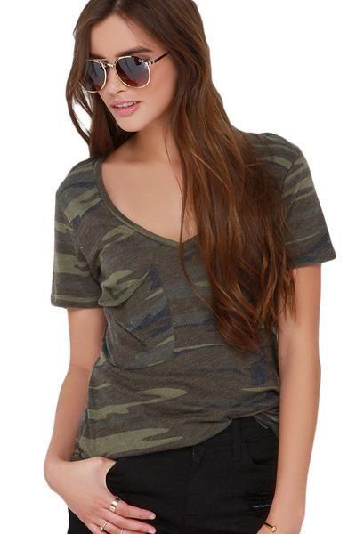 Her V neck Camouflage Fabulous Summer Basic Pocket T-Shirt