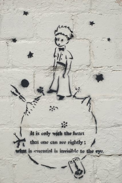 """.A graffiti tag of """"The Little Prince"""" by the French Writer and Poet Antoine de Saint-Exupéry"""