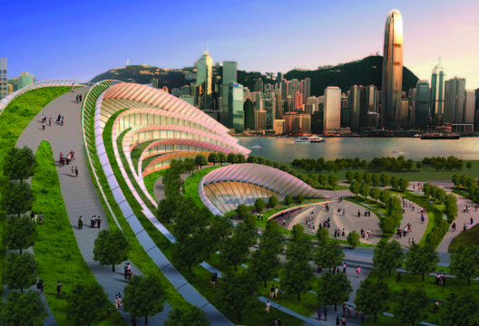 Express Rail Link West Kowloon Terminus / Andrew Bromberg,rooftop park with the view of Hong Kong skyline