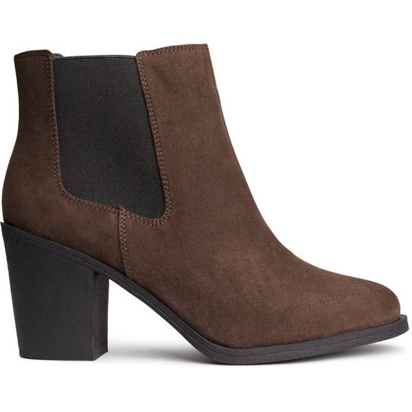 H&M Ankle boots found on Polyvore featuring shoes, boots, ankle booties, dark brown, short boots, rubber sole boots, h&m, dark brown boots and high heel booties