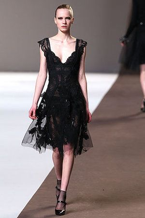 Elie Saab Fall 2010 RTW Black Tulle and Lace Dress