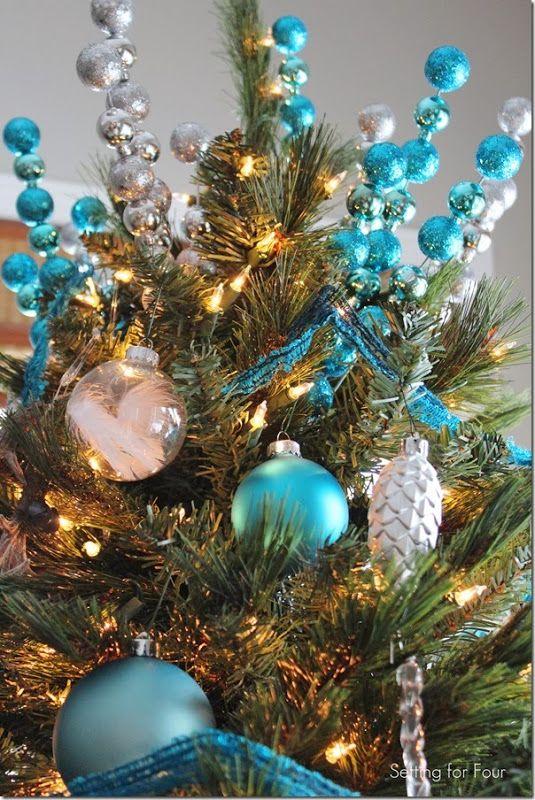 Rustic Glam  Blue Christmas Tree Christmas Pinterest