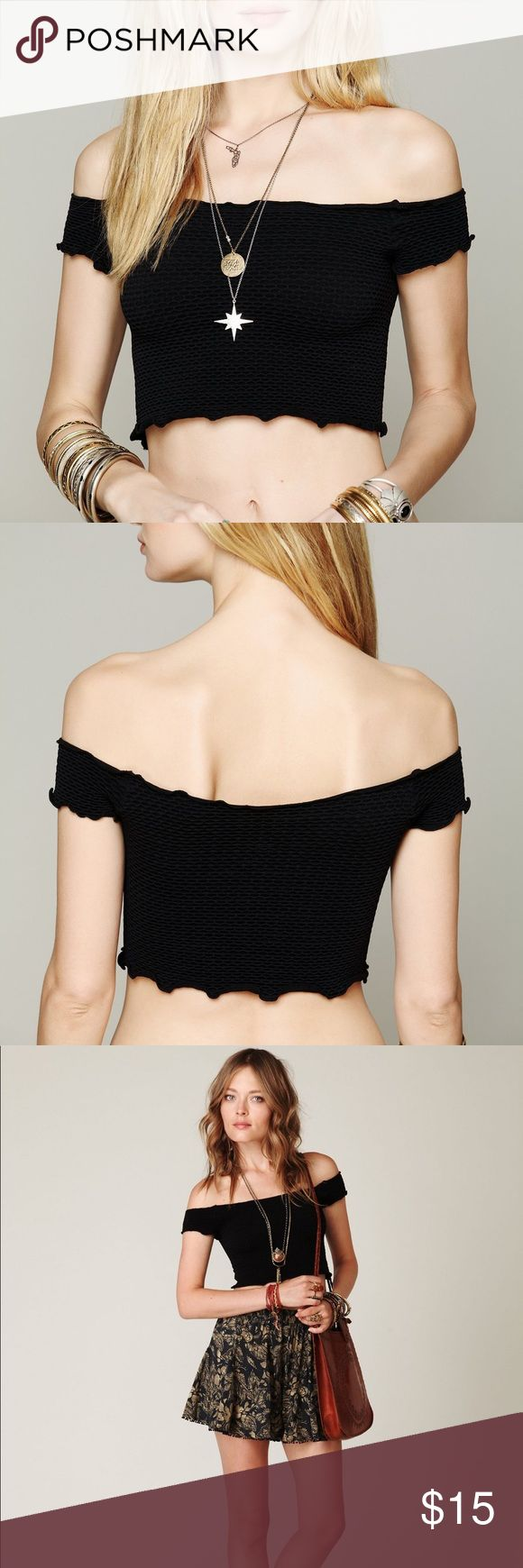 Free People Smocked Crop Top Intimately FP crop top in black. Worn a few times and in good condition. Size x-small/small Free People Tops Crop Tops