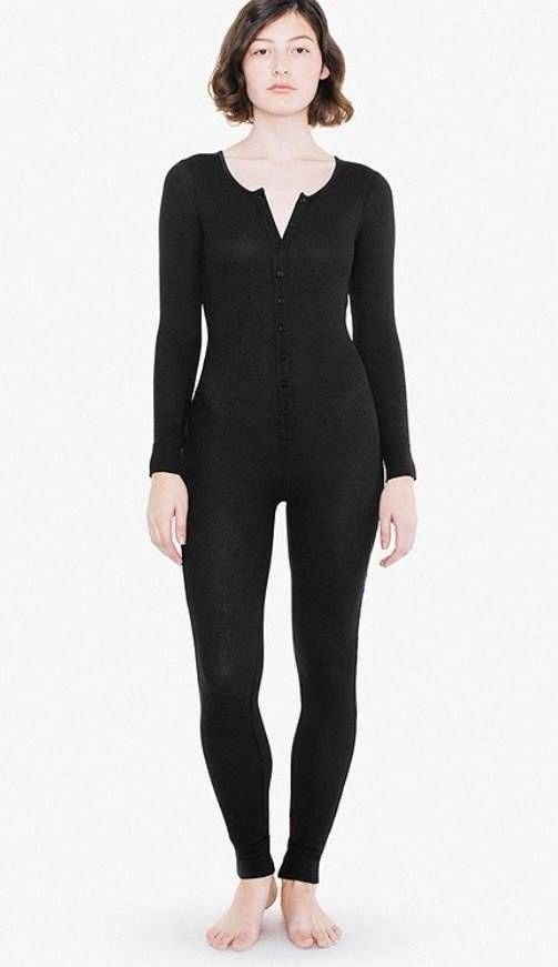 2fd6b012c6d2 NWT~American Apparel~Thermal Henley Long Sleeve Catsuit One Piece~Black~S   AmericanApparel  Onesie