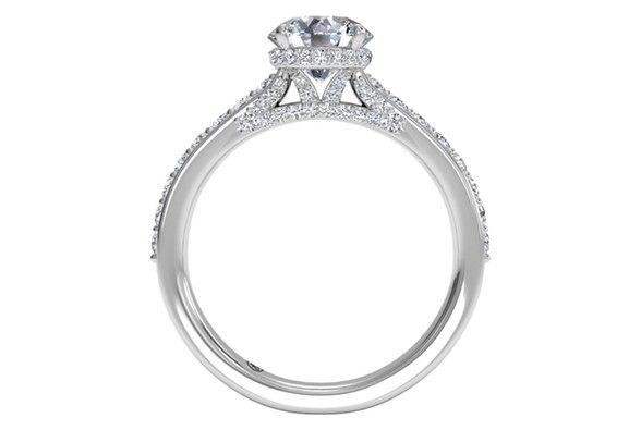 Round Cut French-Set Diamond Band Engagement Ring in 18kt White Gold 0.45 CTW