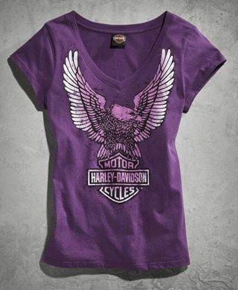 Harley-Davidson® Women's Eagle V-Neck T-shirt Purple 96391-14VW