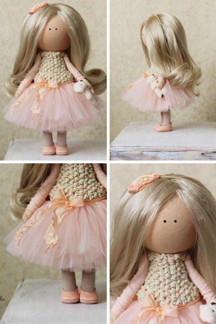 Tilda doll Handmade blonde peach color Collectable doll Baby doll Decor doll…
