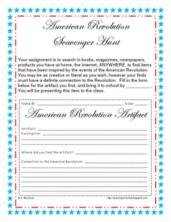 American Revolution Scavenger Hunt freebie...get the kids thinking about how the Revolution is a part of their everyday lives