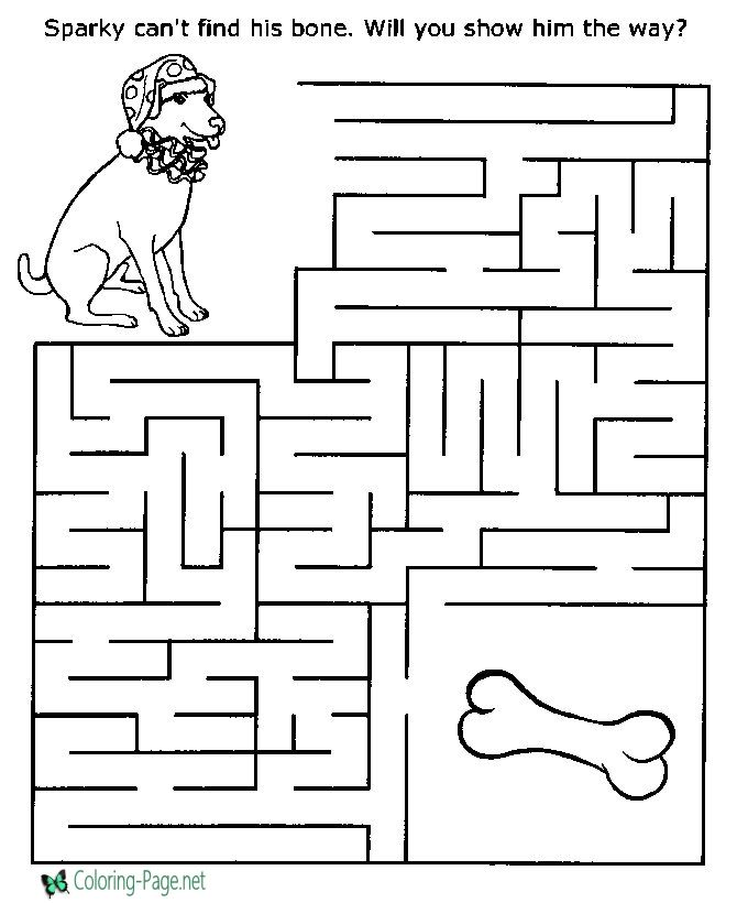 Printable Mazes Dog and Bone puzzles Mazes for kids