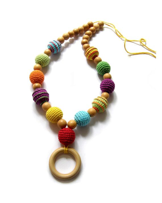 Rainbow nursing wooden ring necklace - Crochet Teething necklace - Breastfeeding Necklace - For Babywearing Moms - Teething toy - Teether