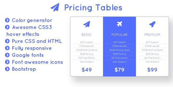 Flight - Responsive Bootstrap Pricing Tables with Color Generator - http://codeholder.net/item/css/flight-pricing-tables-color-generator