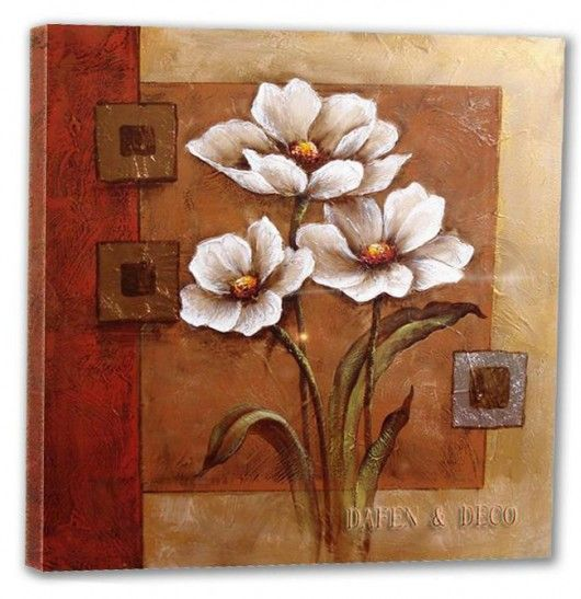Decorative painting on canvas is popular and these blooms look great on the textured background. Artist ???