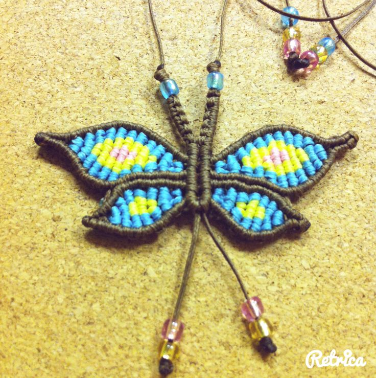 Macrame butterfly necklace.