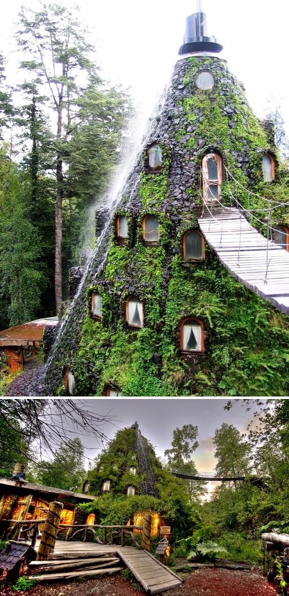 The Magic Mountain Hotel. The incredible eco-lodge in the Andes Mountains of Patagonia, Chile.  Learn how you can stay here at:  http://travel.spotcoolstuff.com/hotel-review/huilo-huilo-chile/la-montana-magica-nothofagus