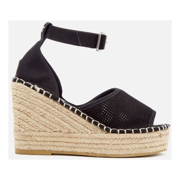 Superdry Women's Anna Wedge Espadrilles (450 MAD) ❤ liked on Polyvore featuring shoes, sandals, black, black espadrille sandals, wedge heel sandals, black espadrilles, espadrille wedge shoes and wedge espadrilles