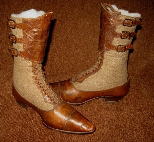 Antique Victorian Fabric Leather Unusual Sporting Riding or Hunting Boots   eBay