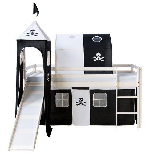 Halbhochbett mit Rutsche Turm Vorhang Tunnel und Tasche 90 x 200 cm Jetzt bestellen unter: https://moebel.ladendirekt.de/kinderzimmer/betten/hochbetten/?uid=7f8d1b76-5464-5292-a283-cc3f00d94e4e&utm_source=pinterest&utm_medium=pin&utm_campaign=boards #kinderzimmer #hochbetten #betten #beds #kids
