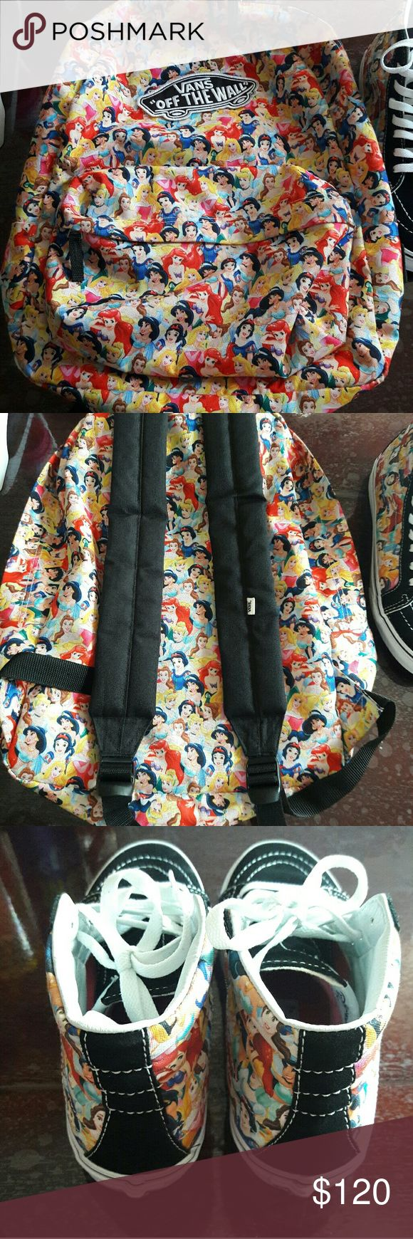 Vans Disney Princess Backpack & Shoes! Vans Disney princess edition shoes and matching backpack Shoes 8.5 woman/7men  Shoes are in new condition, very clean! Backpack in new condition  Both items are from smoke free/pet free Disney loving home. Both items are in new condition.  Open to offers Vans Bags Backpacks