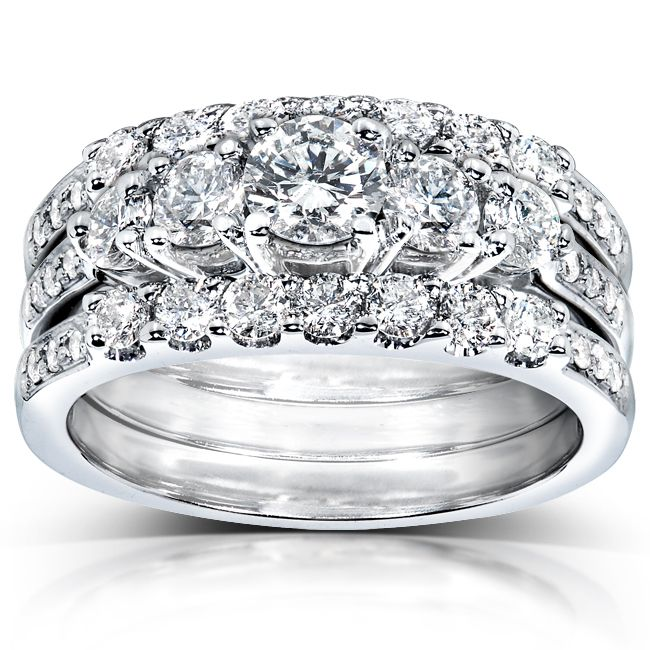 Demonstrate your commitment to one another to the world with this white gold bridal ring set. This wedding ring set features a round-cut diamond for superior brilliance, while the white gold construction of this set offers years of durability.