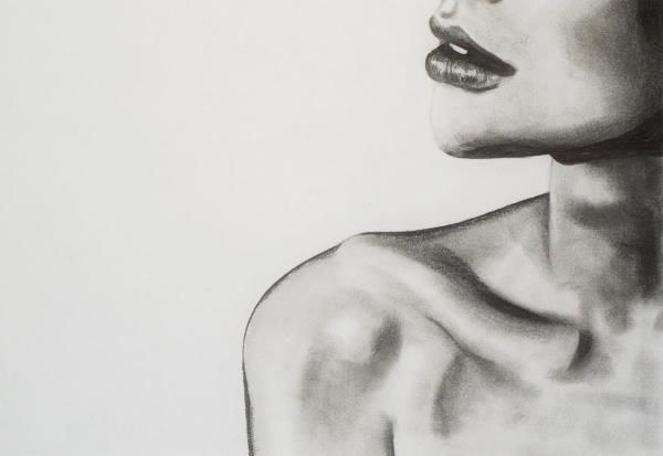 Graphite and charcoal drawing on canvas, poster, mug or greeting card. Starting at $50