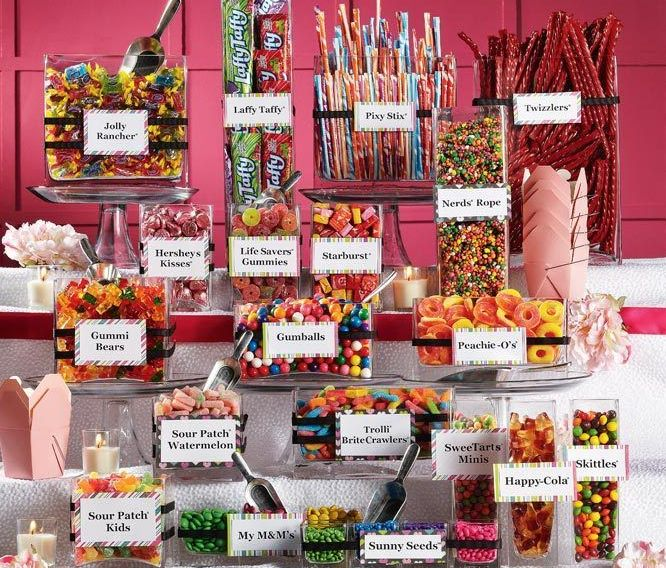 candy bar - pick all your fav's for guests to put a goodie bag together.