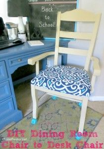 DIY Dining Room Chair to Desk Chair