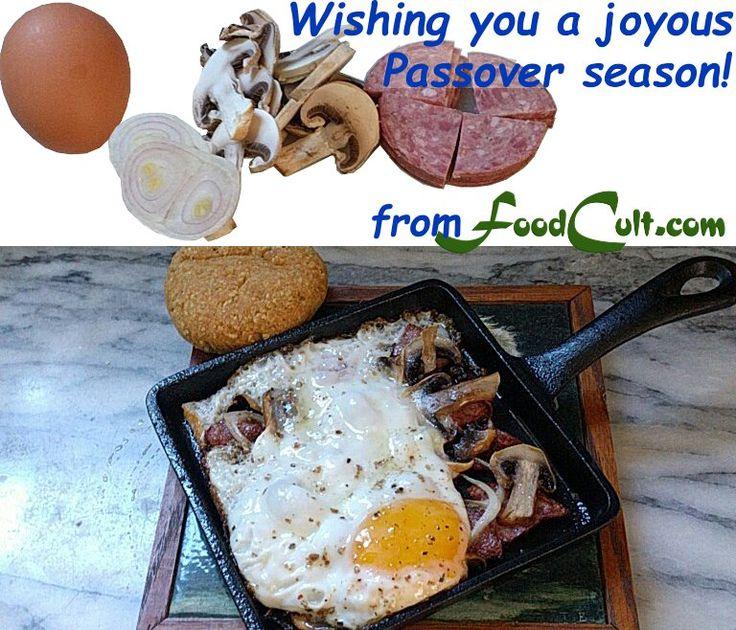 #kosher for #Passover - #fried #egg #mushrooms #kosherforpassover #salami #onion #matzah #roll.  Served on its own #castiron #skillet.  #Pesach #breakfast