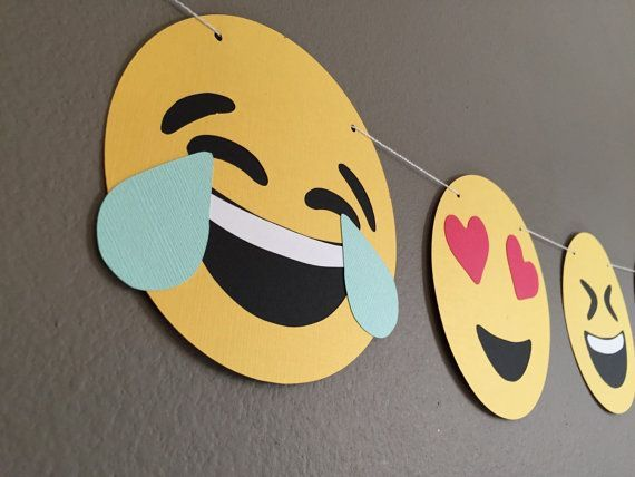 Emoji Banner  Perfect for anyone who loves expressing themselves through emojis!  Listing includes: (7) 5.5 round layered cardstock emojis  Colors