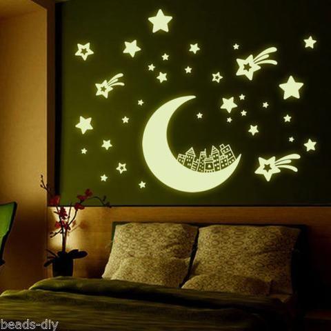 BD European Fluorescent Green Wall Stickers Moon Star House Glow in dark