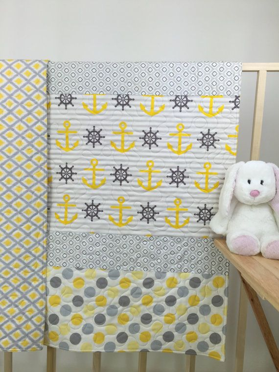 Nautical Baby Quilts bedding, Yellow Baby quilts nautical, Nautical nursery, baby nautical bedding, coastal nursery, nautical baby gift.