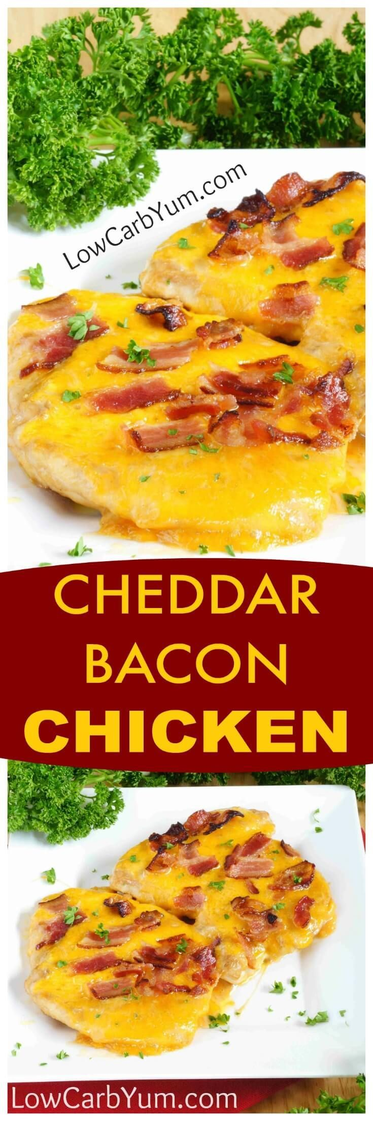 An easy cheddar chicken bacon cheese recipe turns plain chicken into something special. A little teriyaki and ranch dressing enhances the flavor. | http://LowCarbYum.com
