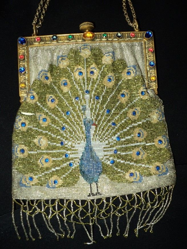 Meticulously handcrafted steel cut beaded Peacock Purse Art Deco French Period,1920's