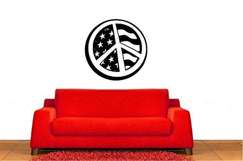 Peace Sign Symbol with American Flag Stars and Stripes Vinyl Wall Words Decal Sticker Graphic
